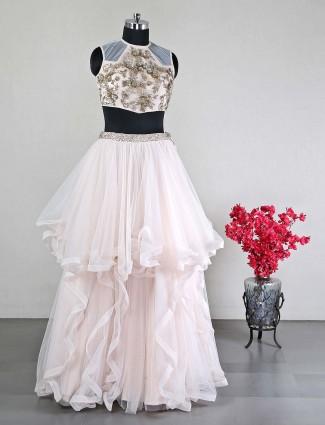 Pink net women wedding lehenga choli