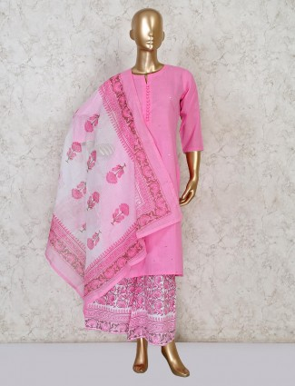 Pink palazzo style salwar suit in cotton