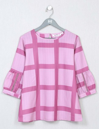 Pink poly cotton casual wear top