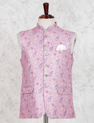 Pink printed cotton jute party waistcoat