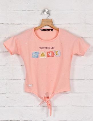 Pink printed cotton round neck top