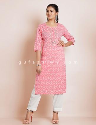 Pink punjabi style printed festive functions cotton pant suit