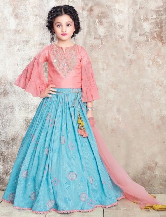 Pink raw silk lehenga choli for girls