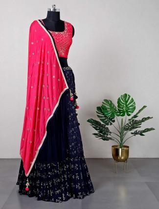 Pink raw silk wedding lehenga choli