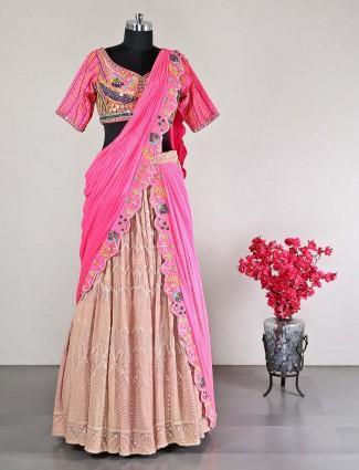 Pink raw silk wedding special lehenga choli