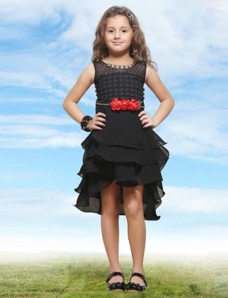 Pink Ribbons black georgette girl frock