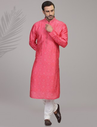 Pink silk festive function kurta suit in bandhej printed