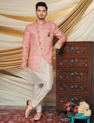Pink silk waistcoat set party wear