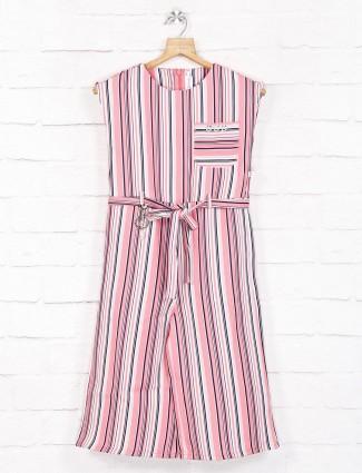 Pink stripe cotton round neck frock