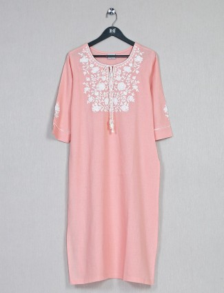Pink thread inflated cotton kurti