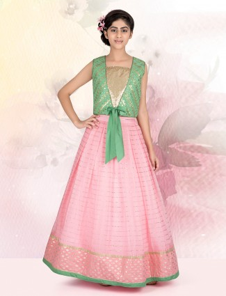 Pink tissue silk thread, sequins work lehenga choli