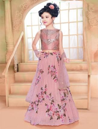 pink printed girls choli suit