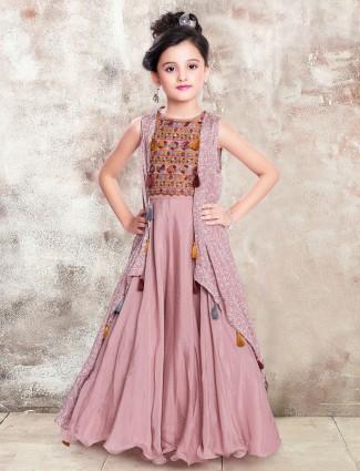 Pink wedding wear anarkali suit for little girls