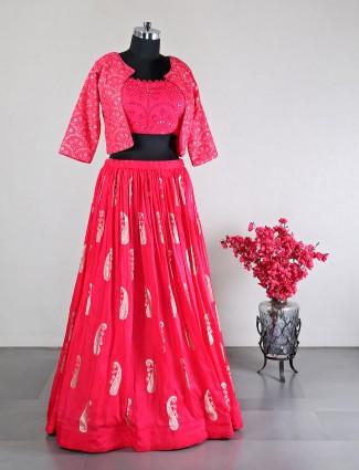 Pink wedding wear jacket style ghaghra choli