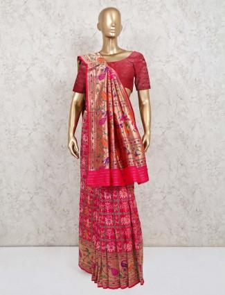 Pink wedding wear saree in patola silk