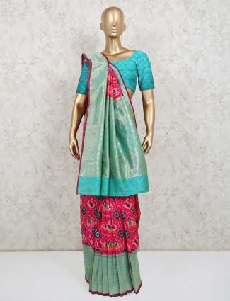 Pink zari inflated patola silk saree
