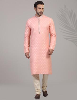 Pink zari work jacquard silk kurta suit