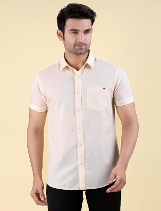 Pioneer cream casual wear solid shirt