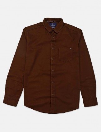 Pioneer solid brown cotton shirt