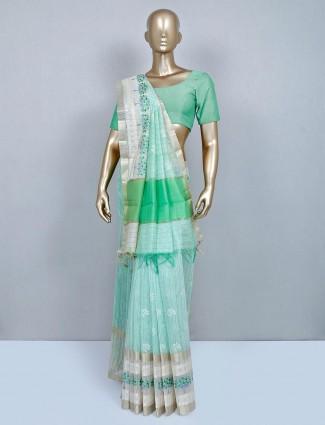 Pista green cotton wedding saree