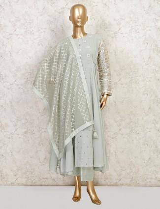 Pista green cotton wedding wear palazzo suit