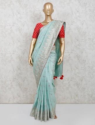 Pista green dola silk saree for parties