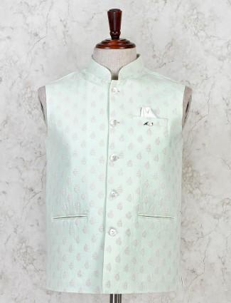 Pista green party waistcoat in cotton