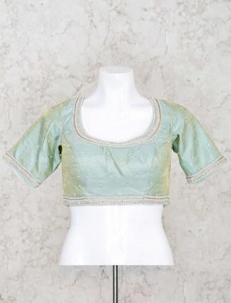 PIsta green raw silk u neck ready made blouse