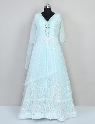 Pista green reception wear net gown