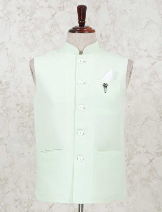 Pista green solid party function cotton silk waistcoat