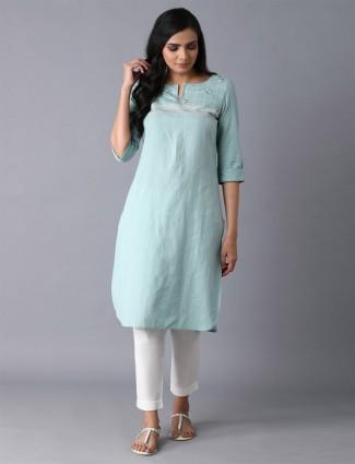 W ista green stripe cotton festive kurti