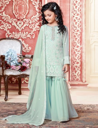 Pista green thread inflated sharara suit