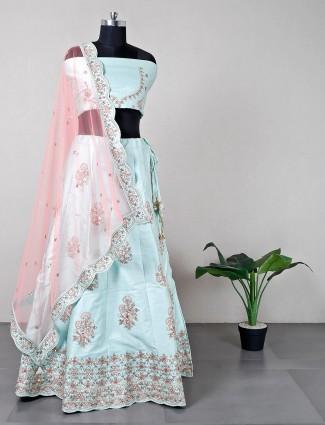 Pista green unstitched wedding lehenga for women