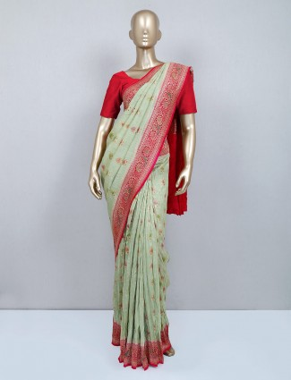 Pista green wedding wear muga silk