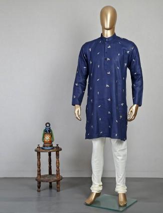 Pista navy kurta suit in cotton