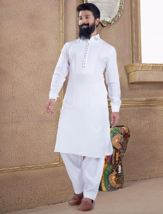 Plain and sober white pathani suit