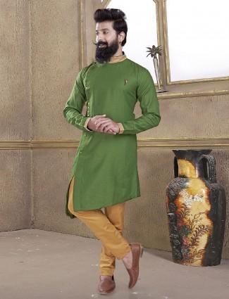 Plain green cotton silk kurta suit
