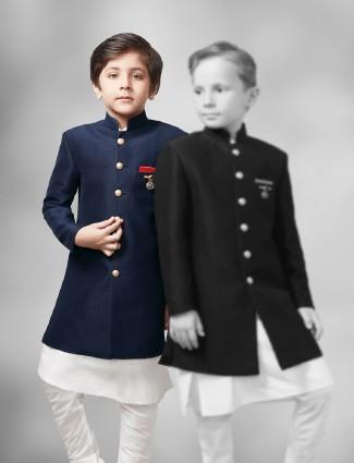 Plain navy hue festive wear two piece indo western