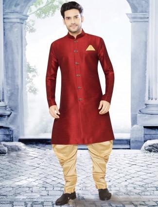 Plain red raw silk kurta suit