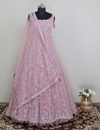 Pleasant party gown in pink hue with mirror details