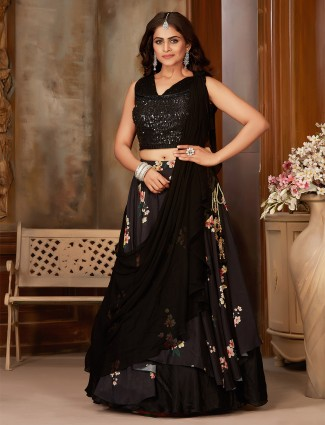 Precious black georgette printed satinparty wear lehenga choli