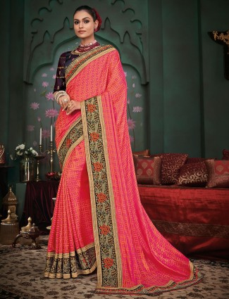Precious festive wear silk saree in pink
