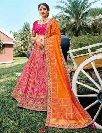 Precious wedding wear semi stitched lehenga choli in magenta