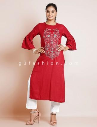 Pretty cotton casual solid kurti in maroon