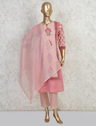 Pretty cotton salwar suit in the pink color