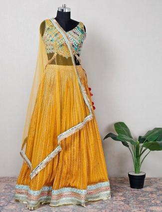 Pretty yellow silk lehenga choli for wedding