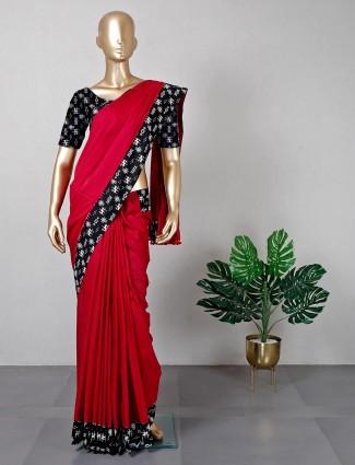 Pretty magenta cotton saree for festivals for women