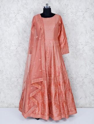 Pretty peach festive cotton silk floor length gown