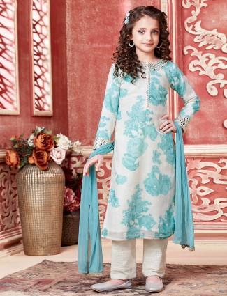 Printed aqua tint wedding salwar kameez