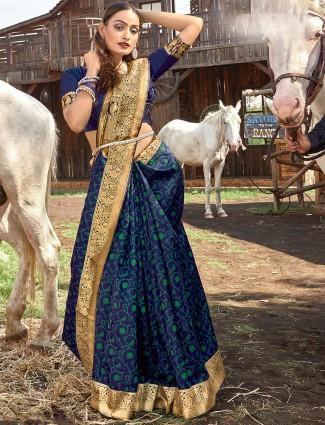 Printed banarasi silk navy blue saree